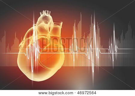 Virtual image of human heart with cardiogram poster