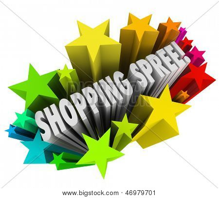 The words Shopping Spree in a colorful burst of stars or fireworks as a sweepstakes prize or winning entry in a contest