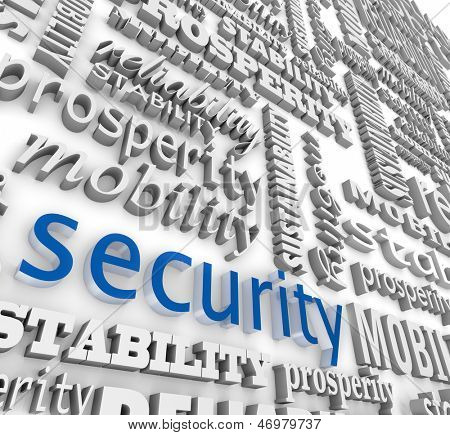 The word Security in 3d letters on a background wall collage with other words like stability, mobility, sustainability, prosperity and reliability