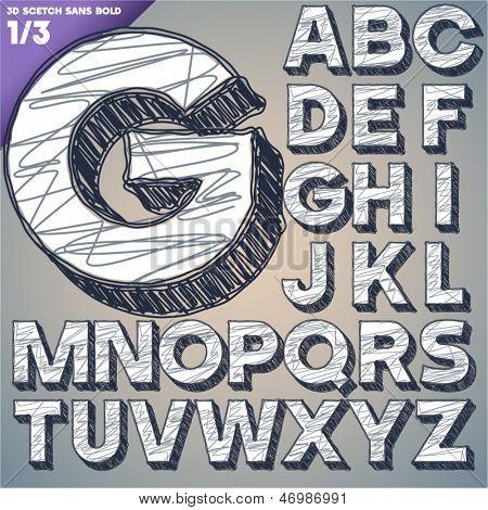 Sketch alphabet. Vector illustration of hand drawing font. Sans uppercase letters