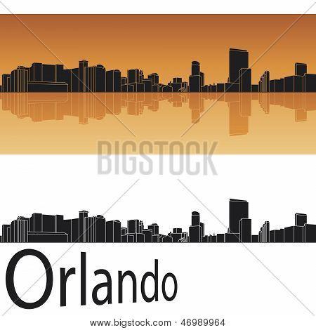 Orlando Skyline In Orange Background