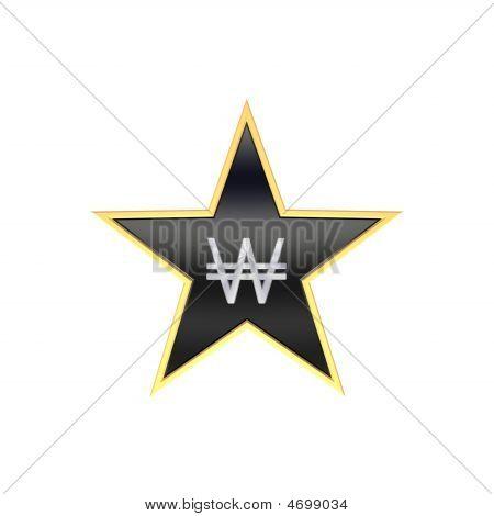 Chrome gewann Zeichen im isolated on White Star.