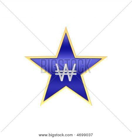 Chrom gewann Zeichen in der Star, isoliert auf weiss.