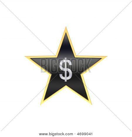 Chrome Dollar-Zeichen in der Star, isoliert auf weiss.