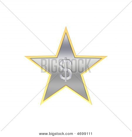 Chrome Dollar Sign In The Star Isolated On White