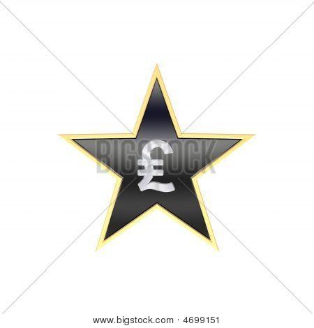 Chrome Pfund-Zeichen in der Star, isoliert auf weiss.