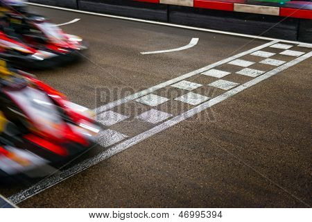 Kart crossing the finish line