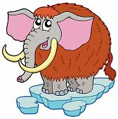 Cartoon mammoth on white background - vector illustration. poster