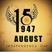 Indian Independence Day vintage background with text 15 August 1947. poster