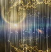 Cosmic Scene on Curtain poster