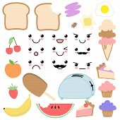 Cute and Funky Vector Kawaii Food Set poster