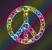 Plasma rings, circles, and glows inside a plasma peace sign frame. poster