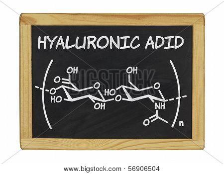 chemical formula of hyaluronic acid on a blackboard