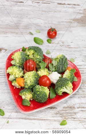 Vegetable Medley in heart dish