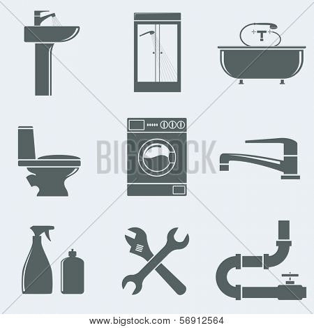 Vector illustration of icons on a theme plumbing