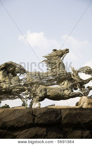 Horse statue; a landmark in Jakarta Indonesia poster