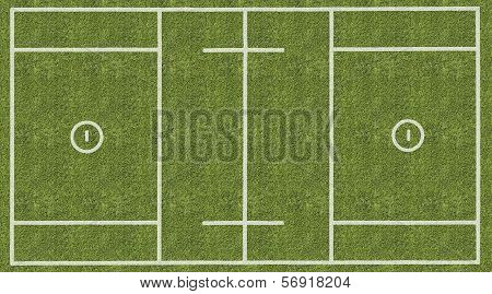 An overhead view of a mens lacrosse playing field with white markings painted on grass. poster