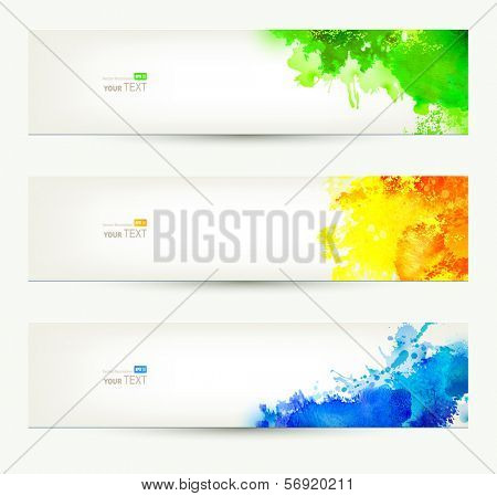poster of set of three colorful headers. Season banners.