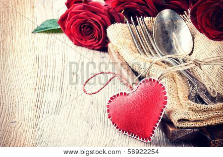 Rustic Table Setting For St Valentine's Dinner
