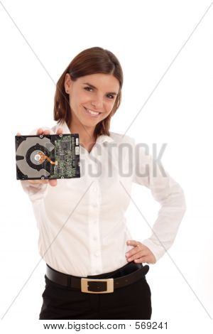Young Woman Holding Hard Disc