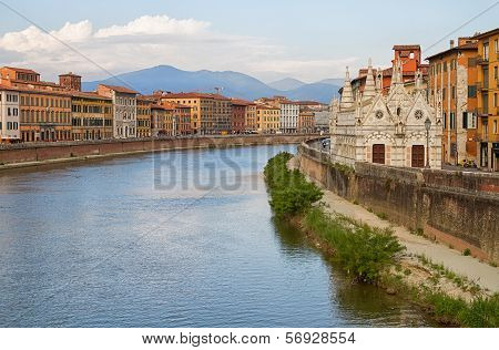City of Pisa with river Arno.