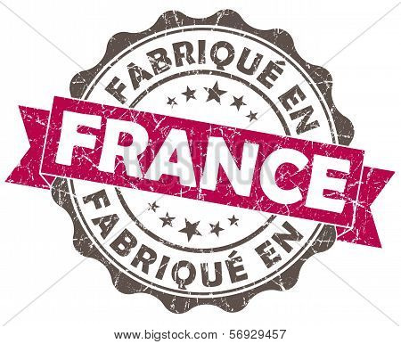 Fabrique En France Pink Grunge Seal Isolated On White Background