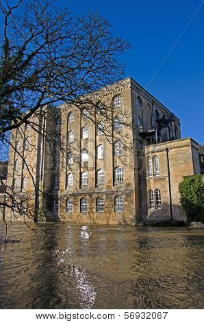 River Avon in flood, Bradford on Avon, United Kingdom
