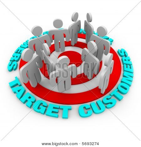 Several customers stand on a red target surrounded by words Target Customers. poster