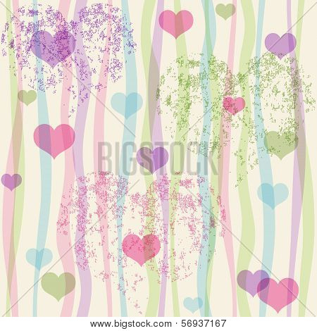 Seamless valentine pastel grunge pattern with translucent colorful strips and hearts (vector eps 10) poster