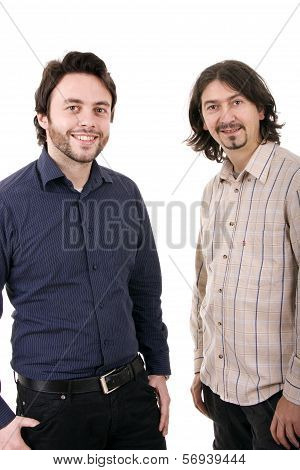 Two Casual Young Men Portrait Isolated On White Background
