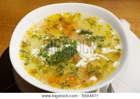 Plate With Chicken Soup And Dill