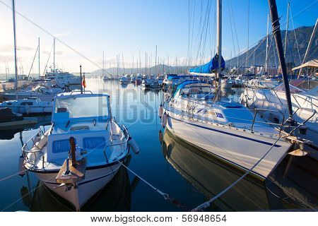 Denia marina boats in alicante Valencia Province of Spain