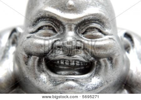 Buddha statue Poe-Tai Ho-Shang also known as smiling Buddha or big belly Buddha isolated on white background. ** Note: Shallow depth of field poster
