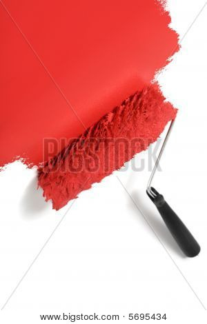 Paint Roller Painting White Background Red