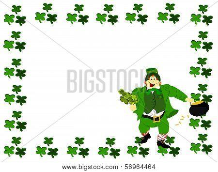 leprechaun square frame clover