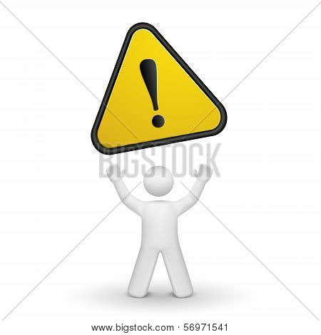 3D Person Looking Up At A Warning Sign