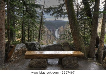 Bench And Waterfall