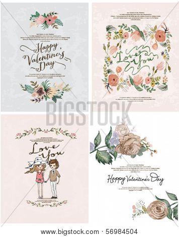 Romantic cartoon invitation valentine card flowers