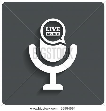 Creative Live music icon. Microphone symbol.