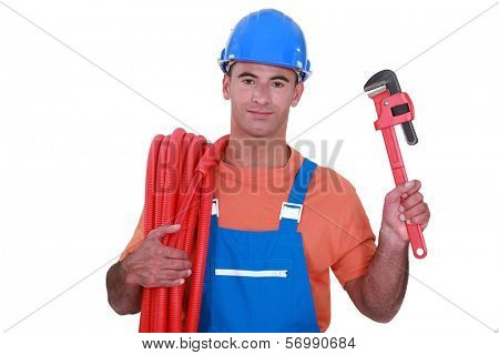 Plumber with a tool
