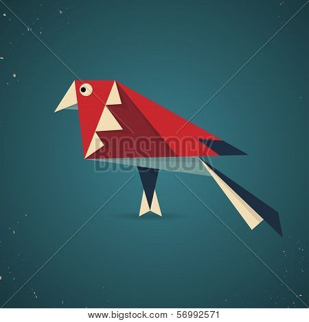 Colorful origami bird pigeon or dove