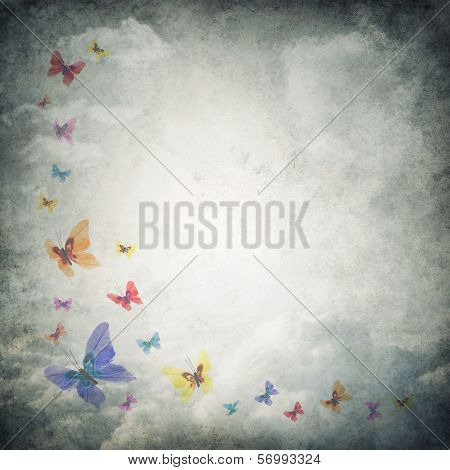 Grunge Premade Background Template With Clouds And Butterflies