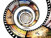 3d image of film strip with african animals poster