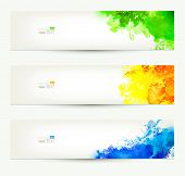 set of three colorful headers. Season banners. poster