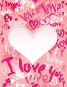 Background with brush strokes and scribbles in heart shapes and words LOVE I LOVE YOU - Valentines Day card poster