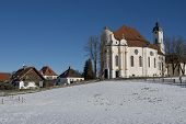 The pilgrimage church of Wies in Bavaria on the Romantische Strasse in Germany poster