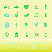 Ecology color icons on yellow background stock vector poster