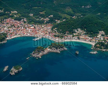 Aerial landscape of Parga Epirus Greece