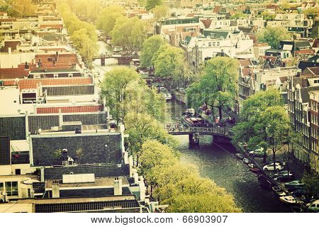 Amsterdam, Holland, Netherlands. City and canal view from Westerkerk.