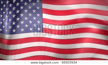 3D Reflective United States Of America Flag
